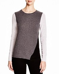 C By Bloomingdale's Asymmetric Color Block Cashmere Sweater Charcoal