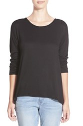 Sun And Shadow Sheer Back High Low Long Sleeve Tee Juniors Black