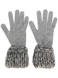 Chanel Vintage Contrast Knit Gloves Grey