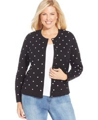 Charter Club Plus Size Polka Dot Cardigan Black Combo