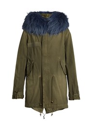 Mr And Mrs Italy Fur Trimmed Cotton Canvas Parka Green