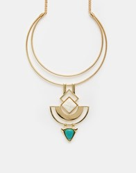 New Look Geo Semi Precious Necklace Gold