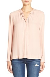 Astr Tie Front Long Sleeve Blouse Blush