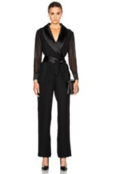 Carolina Ritzler Sheer Sleeve Jumpsuit In Black