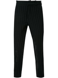 Ann Demeulemeester 'Shaft' Striped Trousers Black