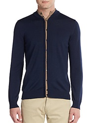 Salvatore Ferragamo Wool And Silk Double Placket Cardigan Blue Beige