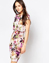 Jessica Wright Kylie Dress With Overlay Floral Top Pink Floral