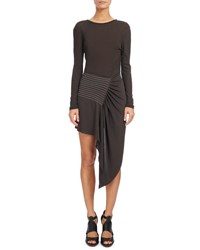 Atlein Topstitched Waist Long Sleeve Dress Ebony