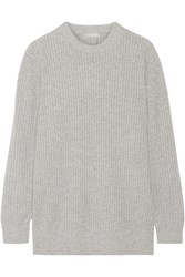 Michael Kors Collection Oversized Ribbed Cashmere Sweater Gray