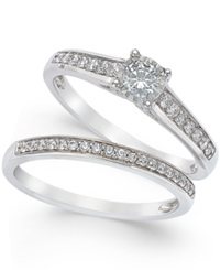 Trumiracle Diamond Engagement Ring And Wedding Band Set 1 2 Ct. T.W. In 14K White Gold No Color