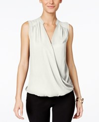 Inc International Concepts Sleeveless Surplice Top Washed White