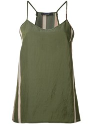 Roberto Collina Side Stripe Tank Top Green