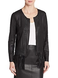 Elizabeth And James Garvin Leather Fringe Jacket Black