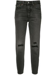 Levi's High Rise Ripped Cropped Jeans Black