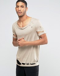 Asos Longline T Shirt With Stretch Neck And Heavy Distress In Drape Fabric Blonde Beige