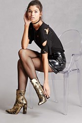 Forever 21 Metallic Glitter Ankle Boots Gold