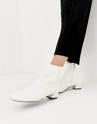 Mango Almond Toe Ankle Boots In White