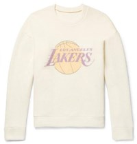 The Elder Statesman Nba Los Angeles Lakers Printed Brushed Cashmere Sweatshirt Yellow