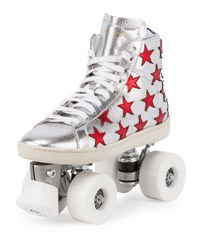 Saint Laurent Court Classic Roller Skate Sneaker Silver Red Silver Red