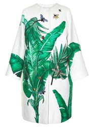 Dolce And Gabbana Banana Leaf Print Embellished Coat Green Multi