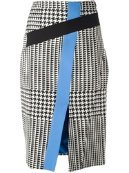 Emanuel Ungaro Houndstooth Print Pencil Skirt Black