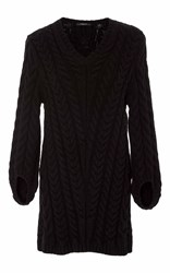 Derek Lam V Neck Cable Knit Sweater Black