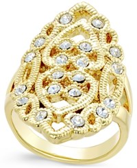 Inc International Concepts Gold Tone Filigree Crystal Statement Ring Only At Macy's