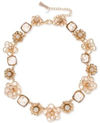 Lonna And Lilly Gold Tone Crystal Flower Collar Necklace