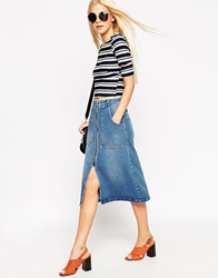 Asos Denim Midi Skirt With Zip Front Indigo