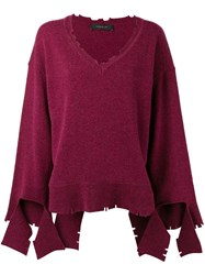 Federica Tosi V Neck Loose Knit Sweater Red