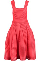 Maje Pleated Ribbed Knit Dress Crimson