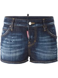 Dsquared2 Distressed Denim Shorts Blue
