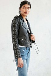 Silence And Noise Silence Noise Aced Laced Vegan Leather Moto Jacket Black