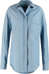 7 For All Mankind Essential Boyfriend Denim Shirt Blue
