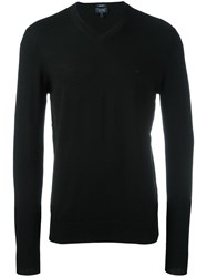 Armani Jeans V Neck Jumper Black