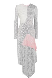 Preen By Thornton Bregazzi Meda Silk Chiffon Trimmed Sequined Stretch Jersey Midi Dress Silver