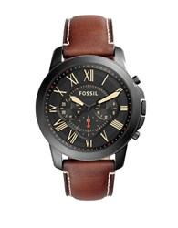 Fossil Grant Black Tone Stainless Steel And Leather Strap Watch Brown