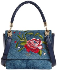 Guess Heather Top Handle Small Satchel Blue Denim