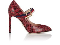 Gucci Sylvie Snakeskin Pumps Red