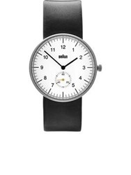 Braun Classic Wide Strap Leather Contrast Face Watch Black White Black White