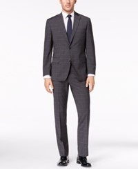 Michael Kors Men's Classic Fit Charcoal Windowpane Suit