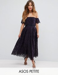Asos Petite Off The Shoulder Lace Prom Midi Dress Navy