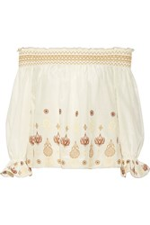Rachel Zoe Veronica Off The Shoulder Embroidered Cotton And Silk Blend Voile Top White
