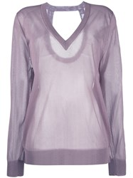 Christian Wijnants Sheer V Neck Top Women Polyester Viscose S Pink Purple