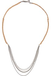 Isabel Marant Collier Silver Tone And Braided Leather Necklace Nude