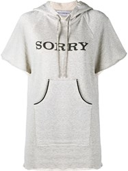 Walk Of Shame Sorry Hooded Sweatshirt With Short Sleeves Grey