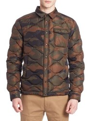 Moncler Quilted Camouflage Shirt Jacket Olive