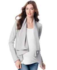 Blank Nyc Maternity Faux Leather Drape Front Jacket Light Grey