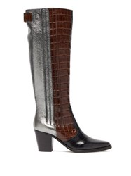 Ganni Panelled Leather Western Boots Brown Multi