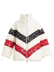 Moncler Gamme Rouge Chunjie Tri Colour Lace Quilted Down Jacket White Multi